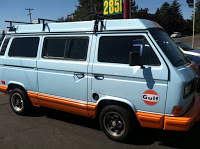 Westfalia Vanagon Wearing Gulf Livery